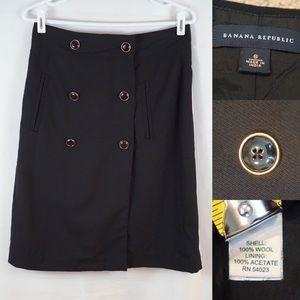 BANANA REPUBLIC Wool Pencil Skirt Button Decor